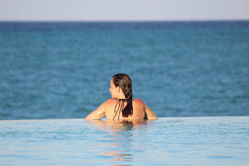 Enjoying the view at this beautiful infinity pool in Zanzibar
