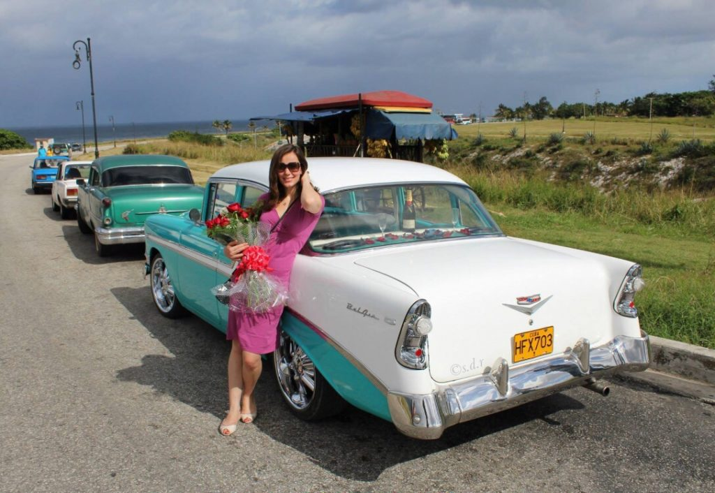 Cuba Havana vintage car antique Chevrolet flowers champagne proposal antique vintage