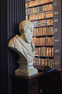 Trinity college library Long Room bust Socrates