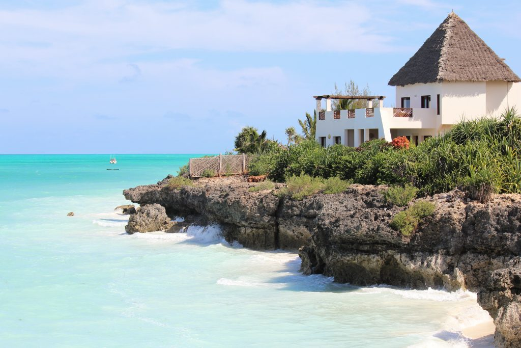 Ocean views with the most intense blue in Zanzibar Tanzania