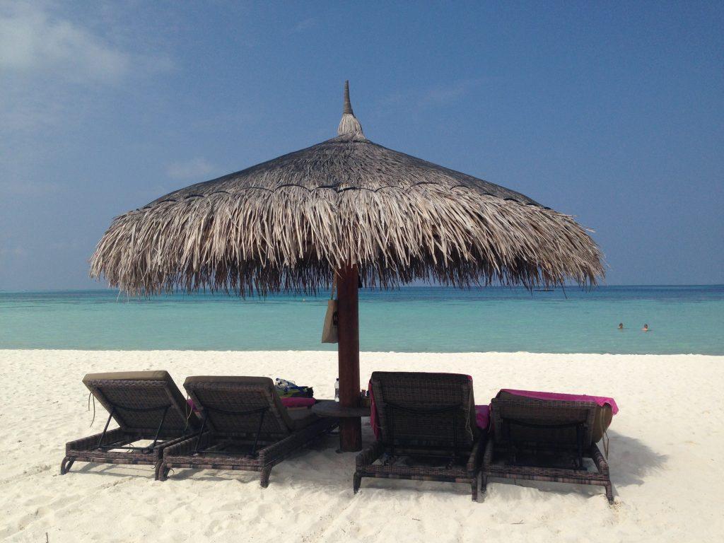 Soft white sand in Maldives