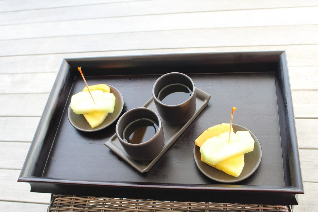 Tea and pine-apple after the massage U SPA Maldives Moofushi