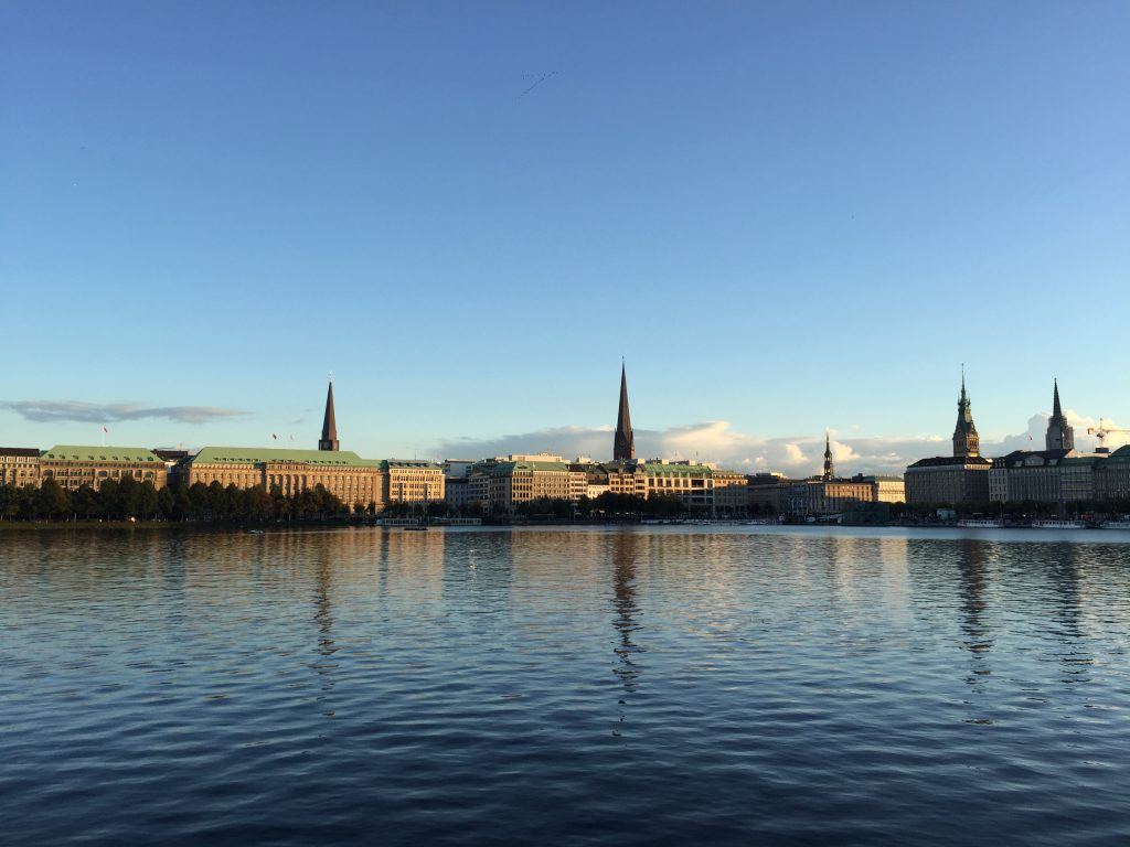 The magnificent view from the inner Alster Lake Hamburg Germany