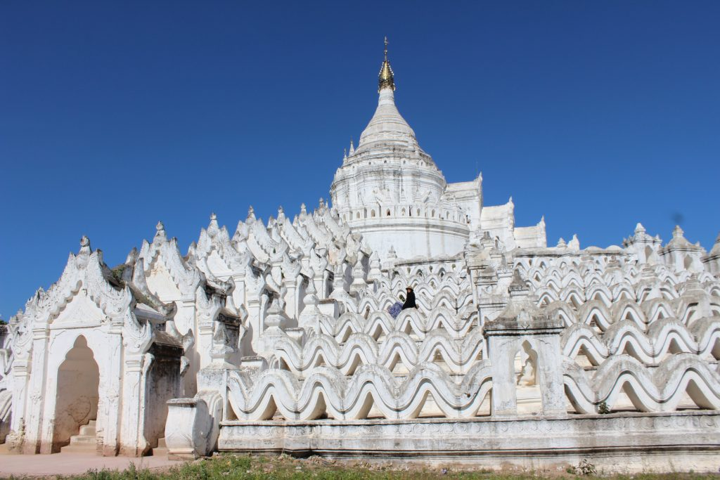 Striking white Hsinbyume Pagoda in Mingun Myanmar Burma