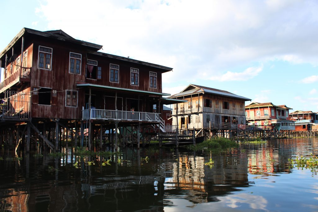 The floating village, everything is built on water! Inle Lake Myanmar